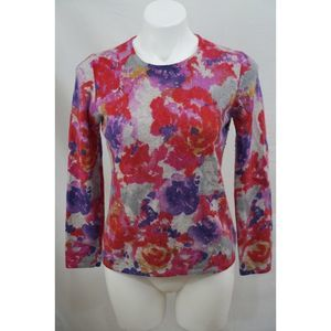 Charter Club 2 Ply Cashmere Floral Sweater